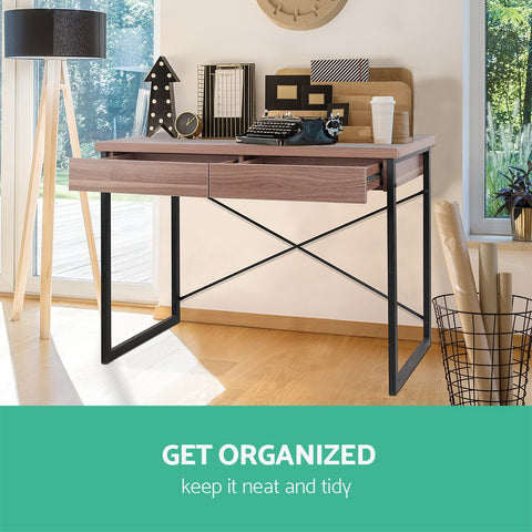 Image of Artiss Metal Desk with Drawer - Walnut