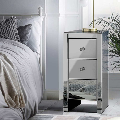 Image of Artiss Mirrored Bedside Tables Drawers Crystal Chest Nightstand Glass Grey