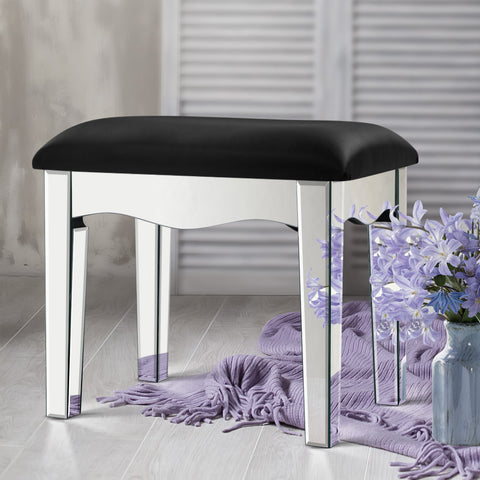 Artiss Mirrored Furniture Dressing Table Stool Foot Vanity Stools Makeup Chairs