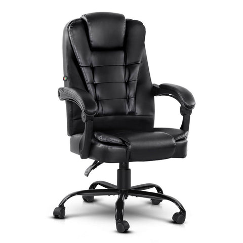 Artiss Electric Massage Office Chair PU Leather Recliner Computer Gaming Chairs Seat Black