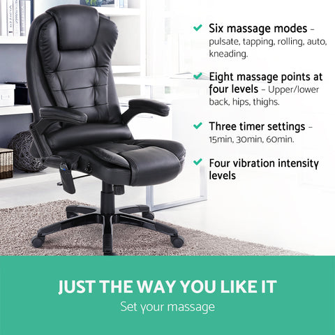 Image of 8 Point PU Leather Reclining Massage Chair for Office and Gaming Chairs - Black