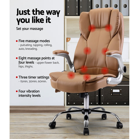 Image of Artiss Massage Office Chair Gaming Chair Computer Desk Chair 8 Point Vibration Espresso