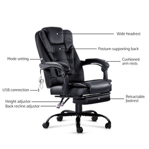 Office Chair Electric Massage Chairs Recliner Computer Gaming With Footrest - Artiss Black