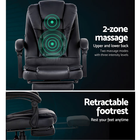 Image of Office Chair Electric Massage Chairs Recliner Computer Gaming With Footrest - Artiss Black