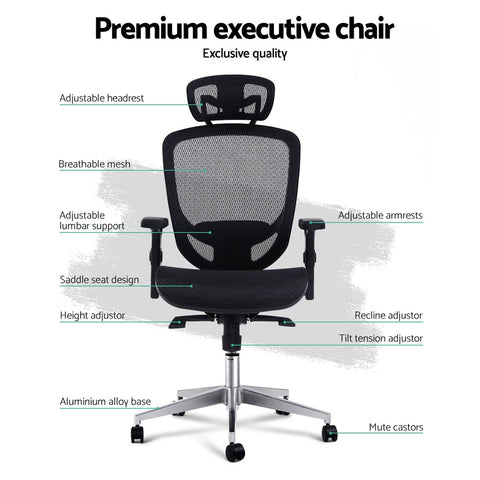 Image of Artiss Office Chair Gaming Chair Computer Chairs Mesh Net Seating Black