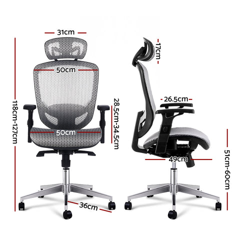 Image of Artiss Office Chair Gaming Chair Computer Chairs Mesh Net Seating Grey