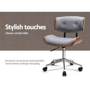 Artiss Executive Wooden Office Chair Fabric Computer Chairs Bentwood Seat Grey