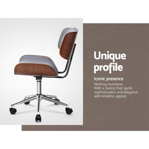 Image of Artiss Executive Wooden Office Chair Fabric Computer Chairs Bentwood Seat Grey