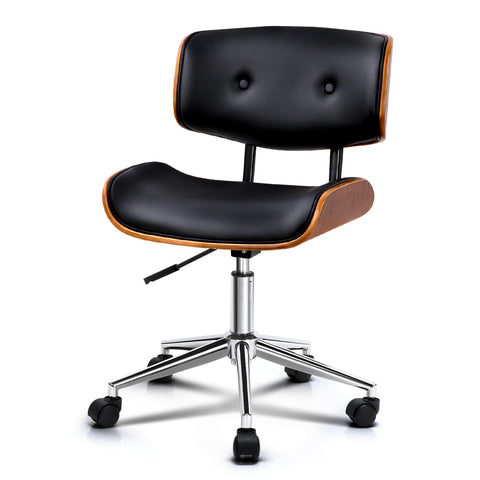 Image of Artiss Wooden & PU Leather Office Desk Chair - Black