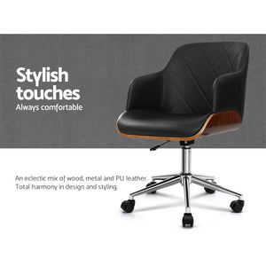 Artiss Wooden Office Chair Computer PU Leather Desk Chairs Executive Black Wood