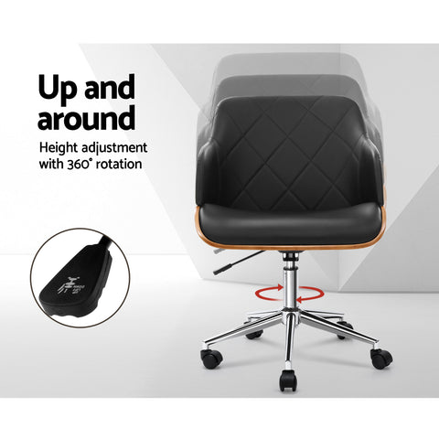 Image of Artiss Wooden Office Chair Computer PU Leather Desk Chairs Executive Black Wood