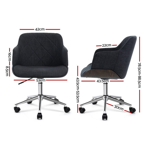 Image of Artiss Wooden Office Chair Computer Gaming Chairs Executive Fabric Grey