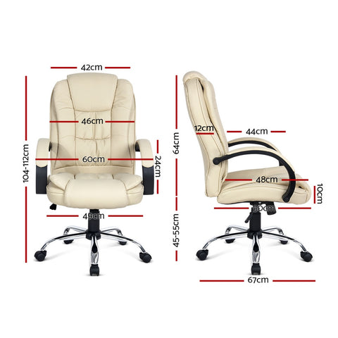 Image of Executive PU Leather Office Desk Computer Chair - Beige