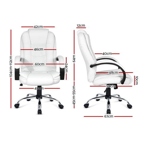 Image of PU Leather Padded Office Desk Computer Chair - White