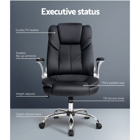 Image of PU Leather Executive Office Desk Chair - Black