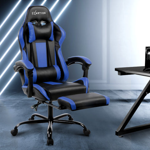Image of Gaming Office Chair Computer Seating Racer Black and Blue