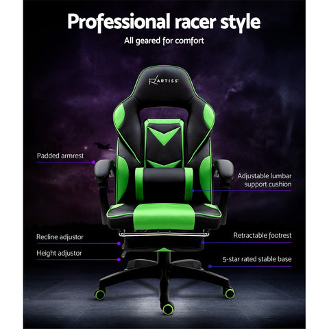 Image of Artiss Office Chair Computer Desk Gaming Chair Study Home Work Recliner Black Green