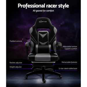 Artiss Office Chair Computer Desk Gaming Chair Study Home Work Recliner Black Grey