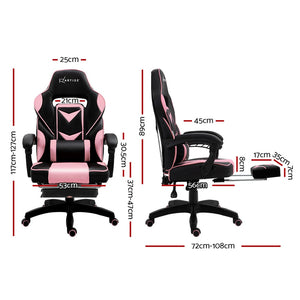 Artiss Office Chair Computer Desk Gaming Chair Study Home Work Recliner Black Pink