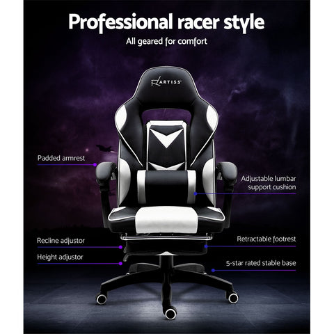 Image of Artiss Office Chair Computer Desk Gaming Chair Study Home Work Recliner Black White