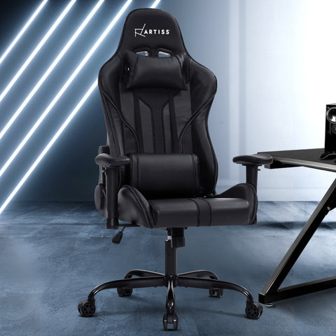 Image of Artiss Gaming Office Chair Computer Chairs Leather Seat Racer Racing Meeting Chair Black