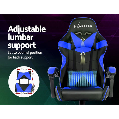 Image of Artiss Gaming Office Chairs Computer Seating Racing Recliner Racer Black Blue