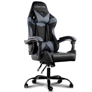 Artiss Office Chair Gaming Chair Computer Chairs Recliner PU Leather Seat Armrest Black Grey