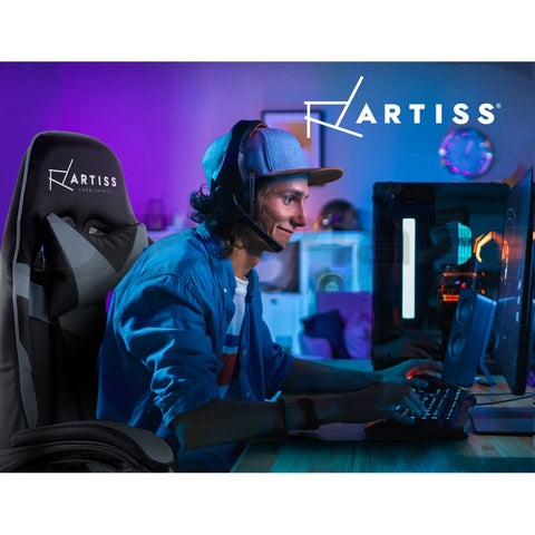 Image of Artiss Office Chair Gaming Chair Computer Chairs Recliner PU Leather Seat Armrest Black Grey