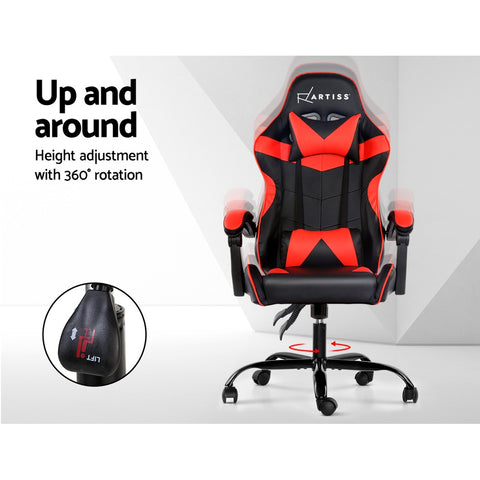 Image of Artiss Gaming Office Chairs Computer Seating Racing Recliner Racer Black Red