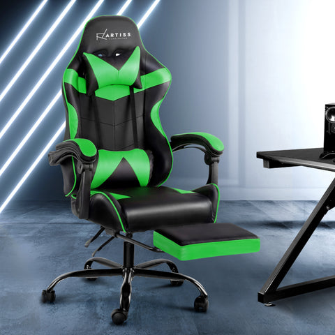Image of Artiss Office Chair Gaming Chair Computer Chairs Recliner PU Leather Seat Armrest Footrest Black Green