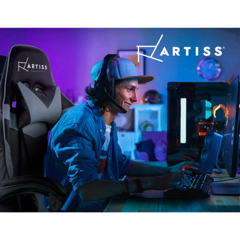 Image of Artiss Office Chair Gaming Chair Computer Chairs Recliner PU Leather Seat Armrest Footrest Black Grey