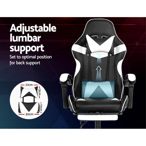 Image of Artiss Gaming Office Chairs Computer Seating Racing Recliner Footrest Black White