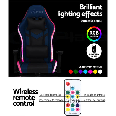 Image of Artiss Gaming Office Chair RGB LED Lights Computer Desk Chair Home Work Chairs