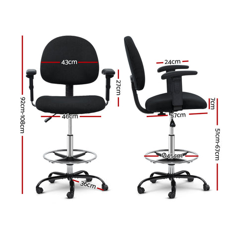 Image of Artiss Office Chair Veer Drafting Stool Fabric Chairs Adjustable Armrest Black