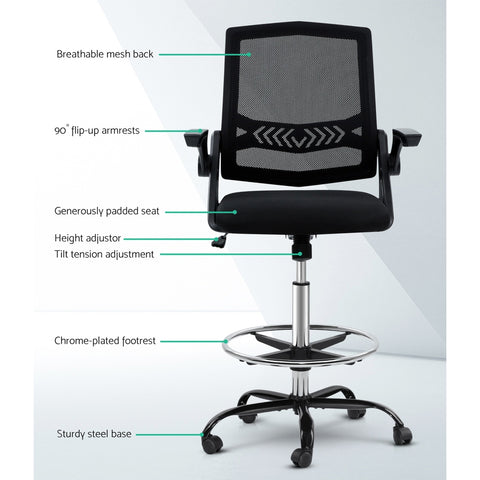 Image of Artiss Office Chair Veer Drafting Stool Mesh Chairs Flip Up Armrest Black