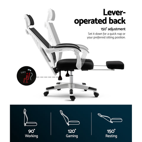 Image of Artiss Gaming Office Chair Computer Desk Chair Home Work Recliner White