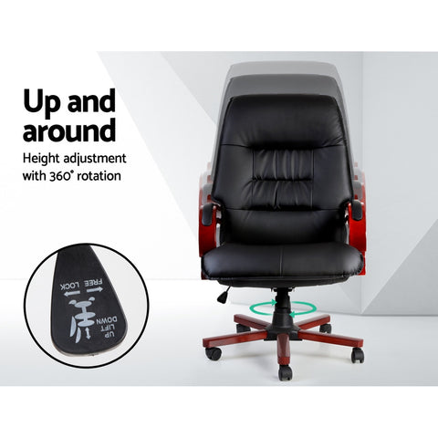 Image of Artiss Executive Wooden Office Chair Wood Computer Chairs Leather Seat Sierra Ergonomic Office Chair - Afterpay Support