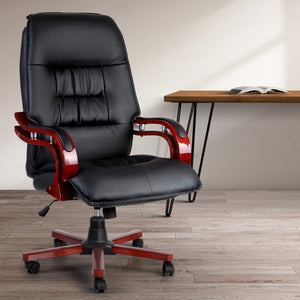 Artiss Executive Wooden Office Chair Wood Computer Chairs Leather Seat Sierra Ergonomic Office Chair - Afterpay Support