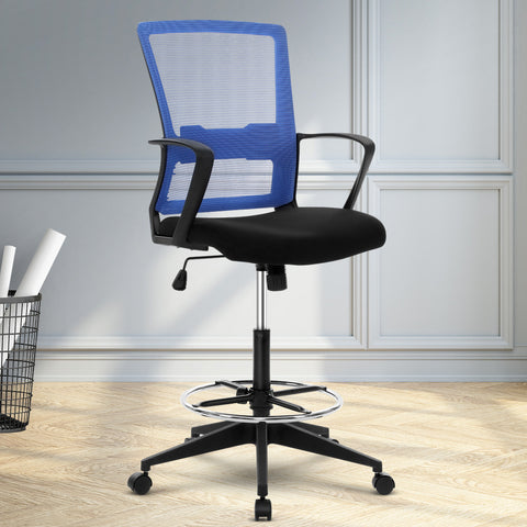 Image of Artiss Office Chair Veer Drafting Stool Mesh Chairs Black Standing Chair Stool