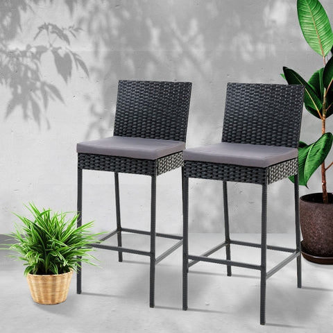 Image of Gardeon Outdoor Bar Stools Dining Chairs Rattan Furniture X2