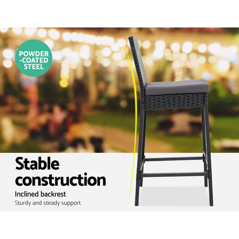 Image of Gardeon Outdoor Bar Set Table Stools Furniture Wicker 5PCS