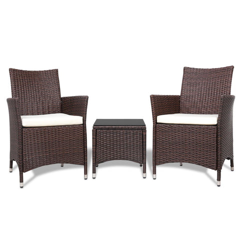 Image of Gardeon 3pc Rattan Bistro Wicker Outdoor Furniture Set Brown