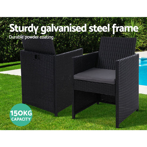 Image of 2x Outdoor Dining Chairs Wicker Chair Patio Garden Furniture Setting Lounge Cafe Cushion Bistro Set Gardeon Black