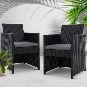 2x Outdoor Dining Chairs Wicker Chair Patio Garden Furniture Setting Lounge Cafe Cushion Bistro Set Gardeon Black