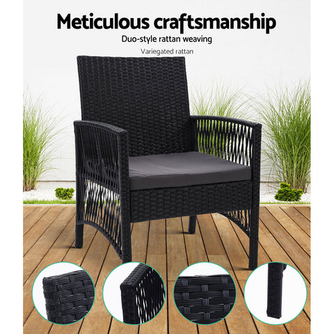 Image of Outdoor Furniture Dining Chairs Rattan Garden Patio Cushion Black x2 Gardeon