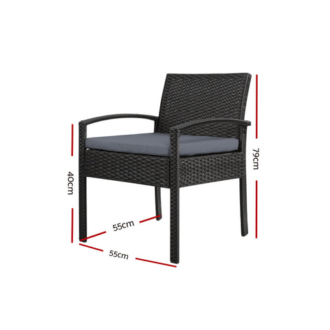 Image of 2x Outdoor Dining Chairs Wicker Chair Patio Garden Furniture Lounge Setting Bistro Set Cafe Cushion Gardeon Black