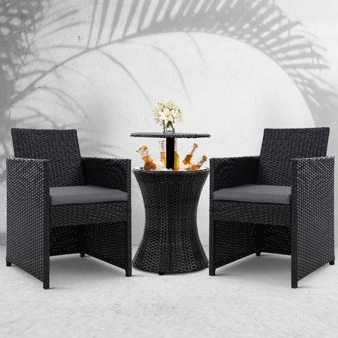 Image of Gardeon Outdoor Furniture Bar Table Set Wicker Chairs Cooler Ice Bucket Patio Bistro Set Coffee