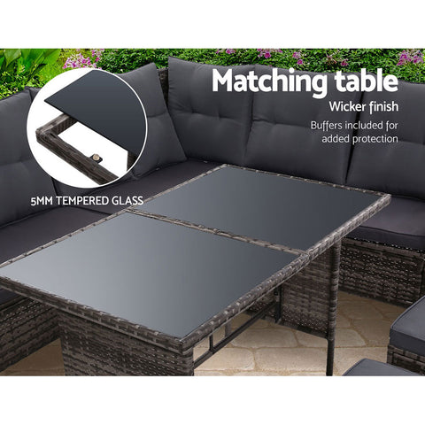 Image of Outdoor Sofa Set Patio Furniture Lounge Setting Dining Chair Table Wicker Grey