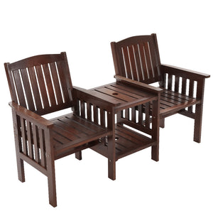 Gardeon Garden Bench Chair Table Loveseat Wooden Outdoor Furniture Patio Park Charcoal