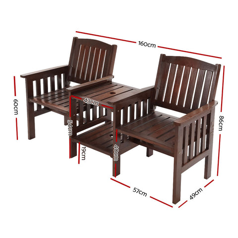 Image of Gardeon Garden Bench Chair Table Loveseat Wooden Outdoor Furniture Patio Park Charcoal